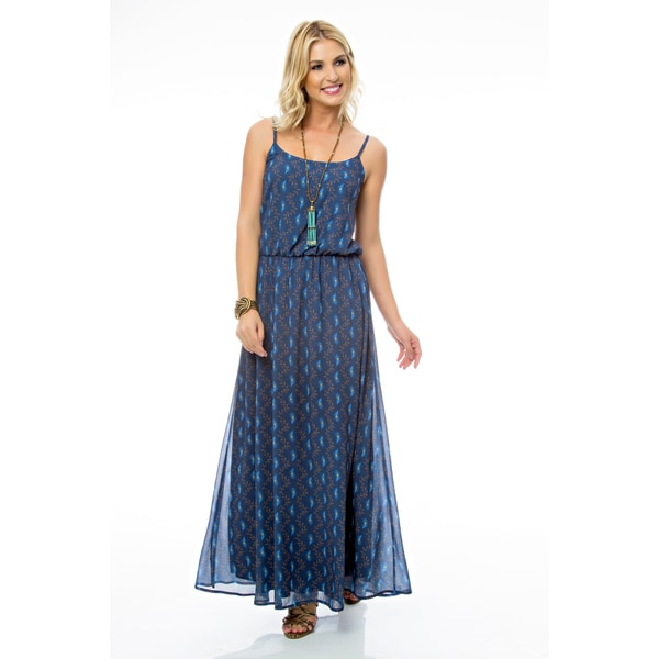 Sara Boo Blue Flare Maxi Dress