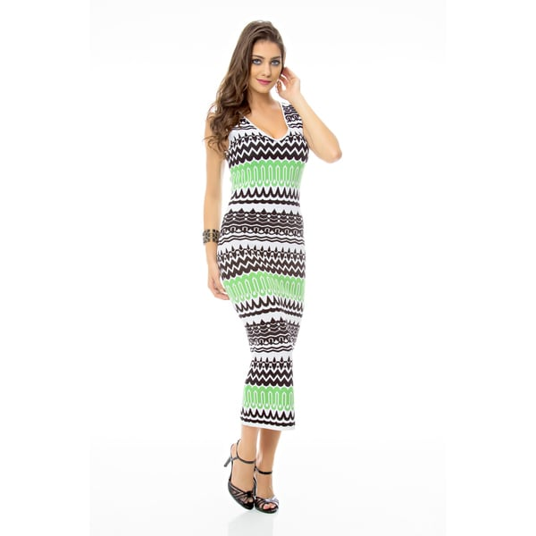 Sara Boo Green Print Maxi Tricot Dress