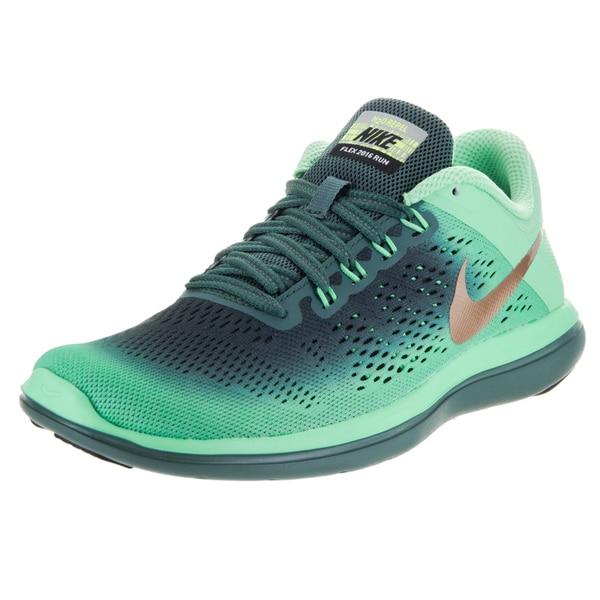 Nike Women's Flex 2016 Run Shield Green Fabric Running Shoes