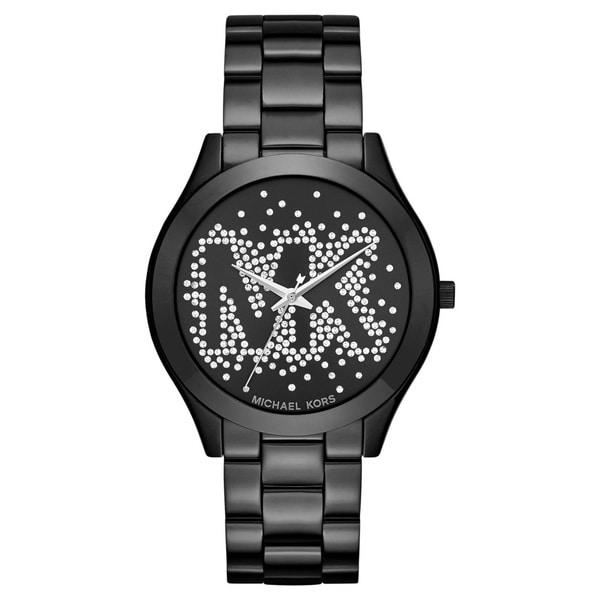 Michael Kors Women's MK3589 Slim Runway Crystal-Set Black Dial Black Stainless Steel Bracelet Watch