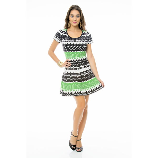 Sara Boo Printed Skater Tricot Dress