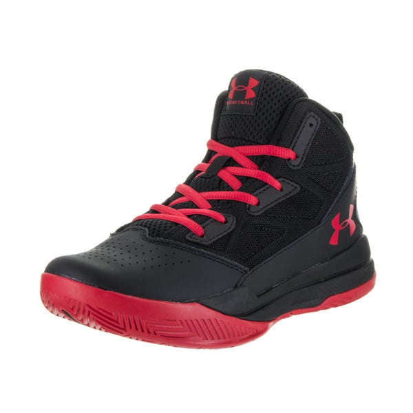 Under Armour Boys' BGS Jet Black Synthetic Leather Mid Basketball Shoes