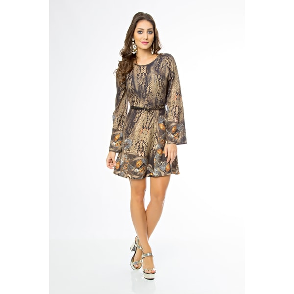 Sara Boo Belted Animal Print Dress