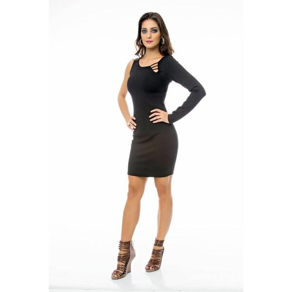 Sara Boo Solid One Shoulder Bodycon Dress