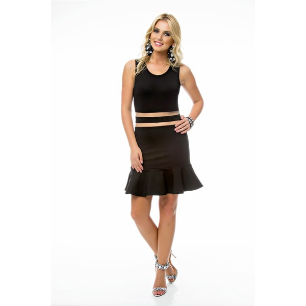 Sara Boo Sheer Mid Riff A-Line Dress 22338398