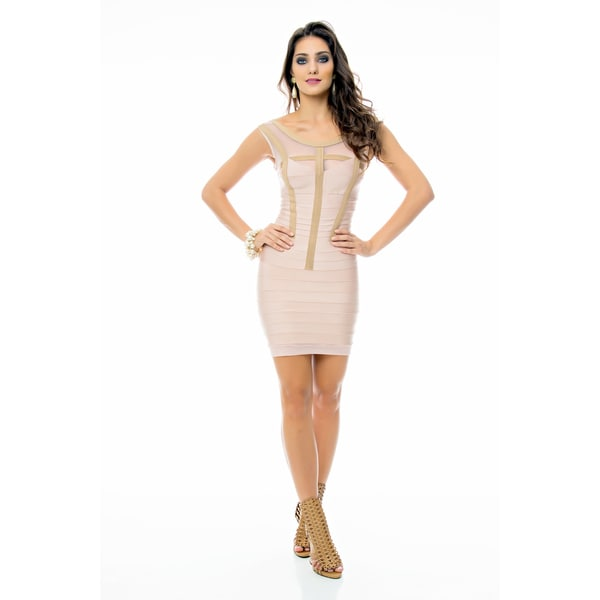 Sara Boo Sheer V-Neck Bandage Dress