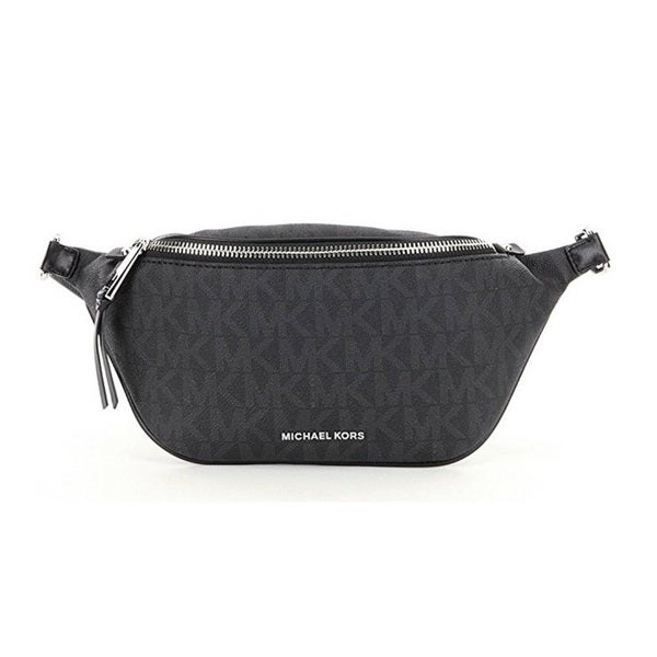 Michael Kors Small Rhea Black Zip Signature Belt Bag