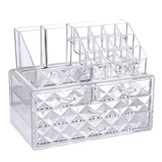 Acrylic Diamond-pattern 2-piece Jewelry and Cosmetic Storage Set