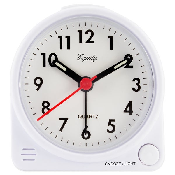 White Quartz 3.5-in Analog Bedside Alarm Clock