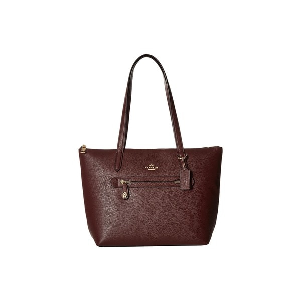 Coach Taylor Oxblood Pebbled Purple Leather Tote Bag