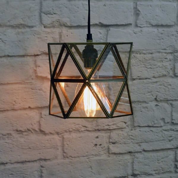 Small Glass Terrarium Hanging Lamp