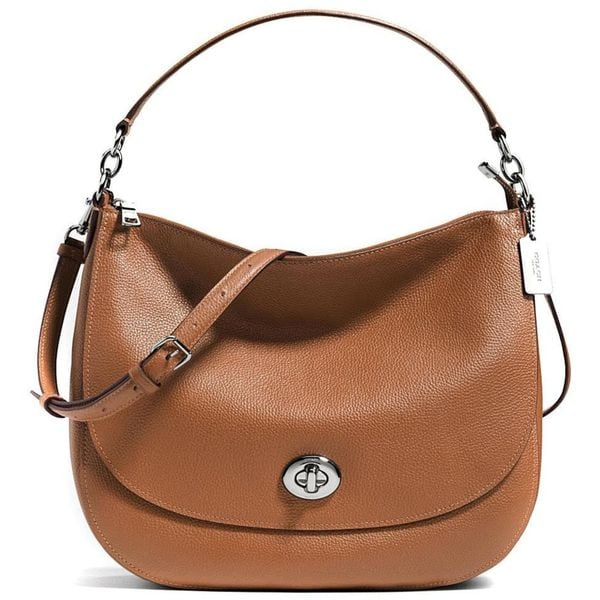 Coach Turnlock Saddle Brown Leather Hobo Handbag