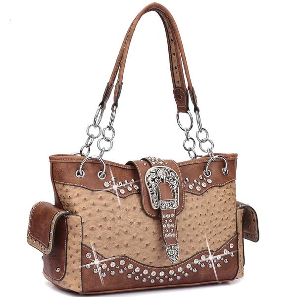 Dasein Western Style Ostrich Rhinestone Buckle Shoulder Handbag 22340031