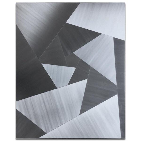 Nate Halley 'Scattered Edges' Cubism Metal Art on Natural Aluminum