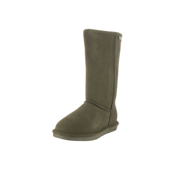 BearPaw Women's Emma Olive Suede Sheepskin and Wool Tall Mid-calf Boots