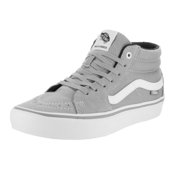 Vans Men's Sk8-Mid Pro Drizz Grey Suede Skate Shoes