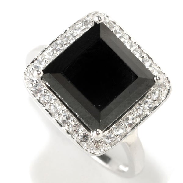 Sterling Silver 6.32 cttw Black Spinel and White Topaz Square Halo Ring 22355786