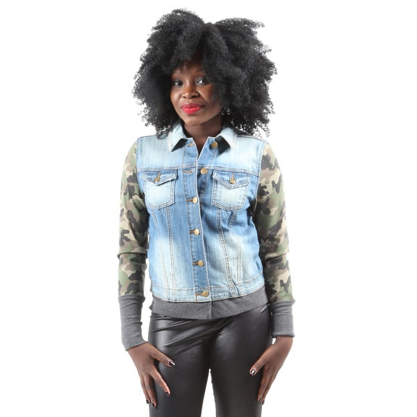 Hadari Women's Stylish Fashion Long Sleeve Button Down Camouflage Denim Jacket