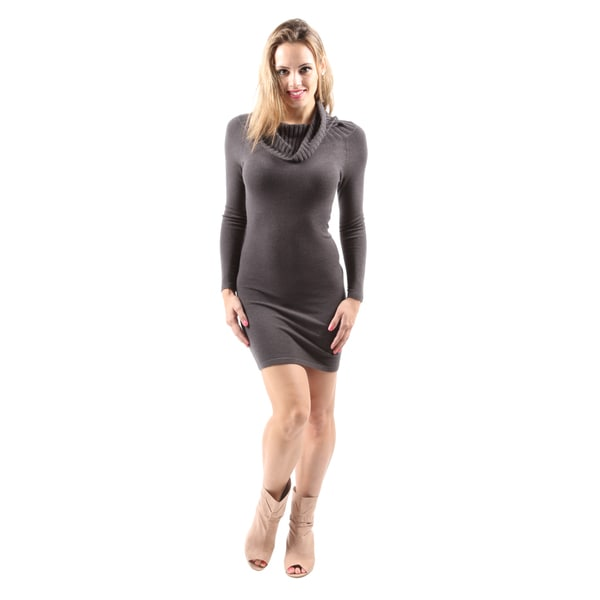Hadari Women's Drape Cowl Neck Slim Fit Bodycon Sexy Short Evening Dress
