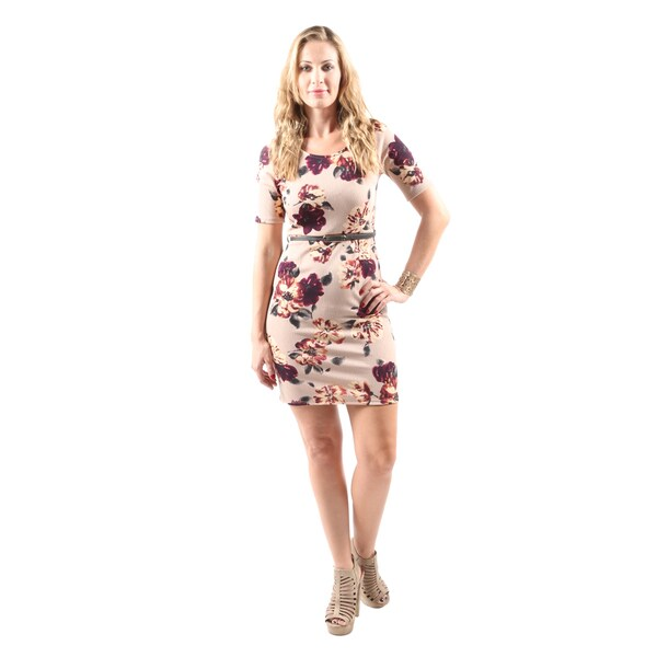 Hadari Women's Casual Sexy Floral Print Tan Short Bodycon Dress