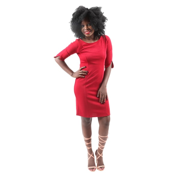 Hadari Women'sCasual Sexy Evening Party Red Bodycon Short Dress