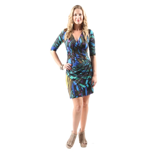 Hadari Women's Casual Sexy Evening Party Multi-Color Geometric Print Dress