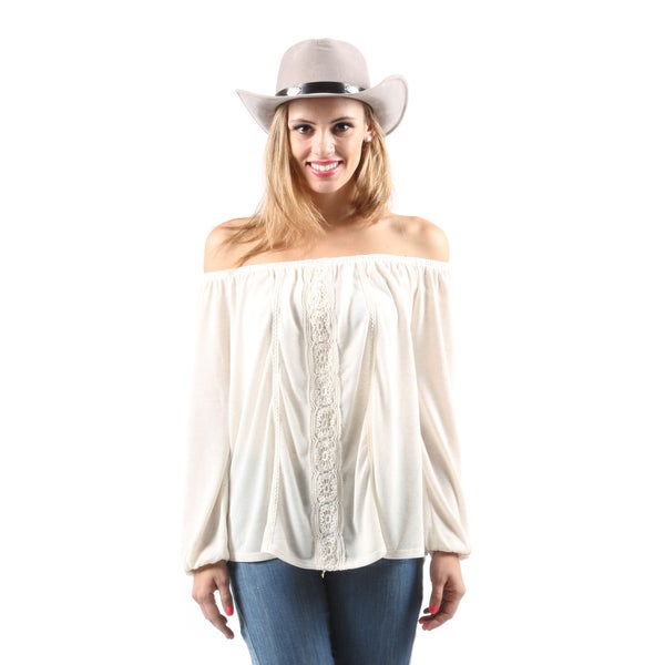 Hadari Women's Casual Off Shoulder Long Sleeve Loose Beige Crochet Blouse