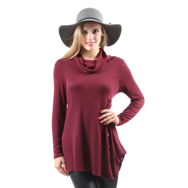 Hadari Women's Casual Handkerchief Hem Long Sleeve Burgundy Tunic Top