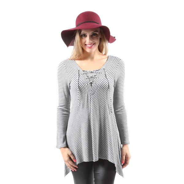 Hadari Women's Casual Handkerchief Hem Long Sleeve Stripe Blouse Top