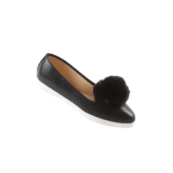 Hadari Women's Casual Fashion Slip On Black Pom Pom Flat Shoes