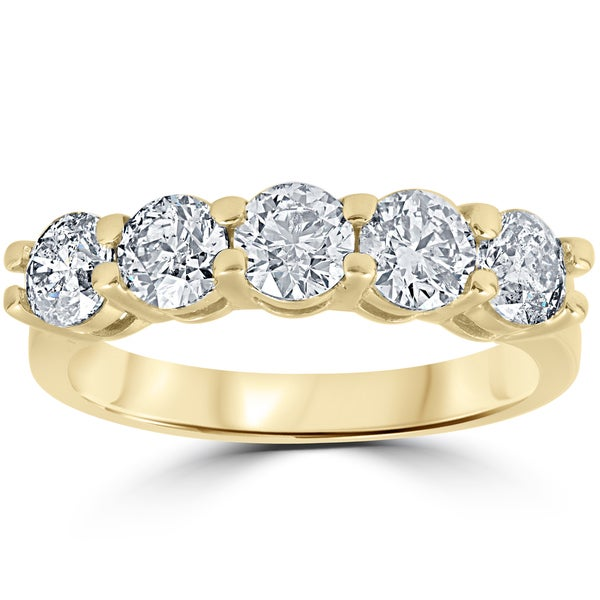 14K Yellow Gold 2 ct TDW Round Cut Diamond Five Stone Wedding Anniversary Womens Ring (I-J, I2-I3)