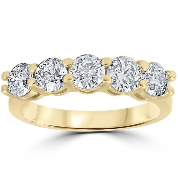 14K Yellow Gold 2 ct TDW Round Cut Diamond Five Stone Wedding Anniversary Womens Ring (I-J, I2-I3)