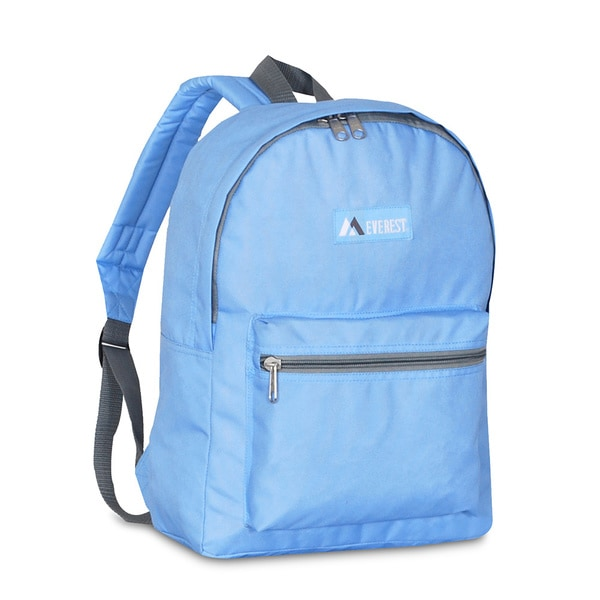 Everest Sky Blue Basic Polyester 15-inch Backpack with Padded Shoulder Straps