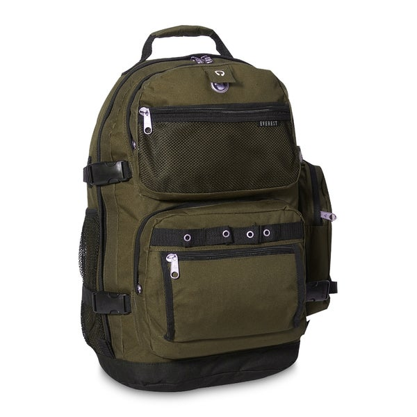 Everest Olive/Black Polyester Lightweight Oversized Deluxe 20-inch Backpack