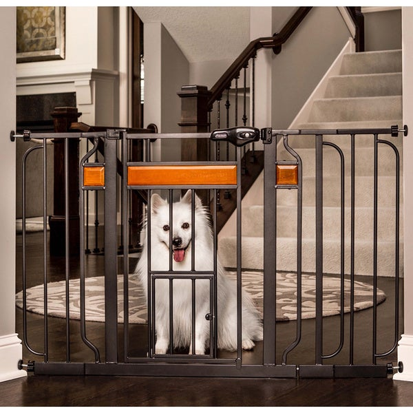 Carlson Pet Products Design Paw Black Metal Extra-wide Pet Gate
