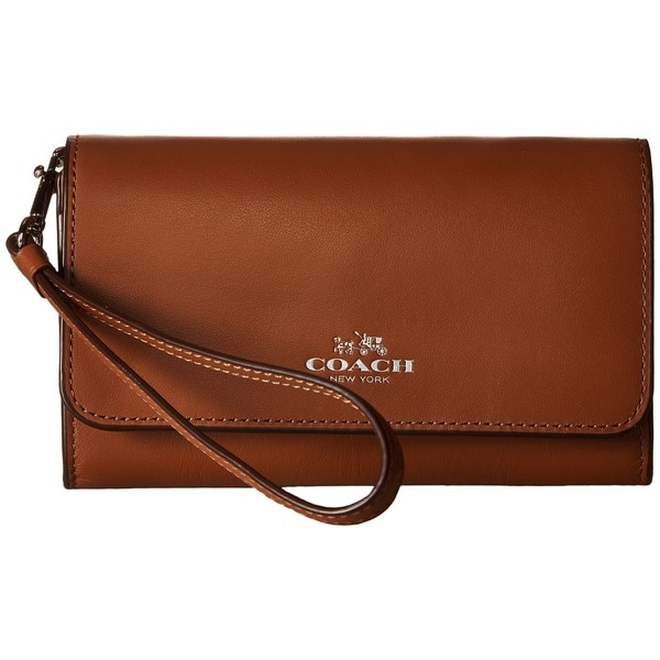 Coach Boxed Brown Leather Saddle Smartphone Clutch