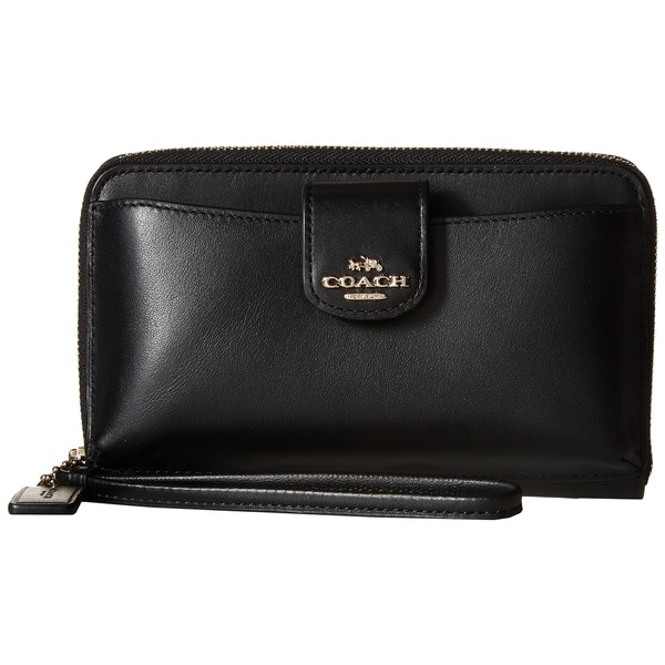 Coach Boxed Black Leather Smartphone Clutch