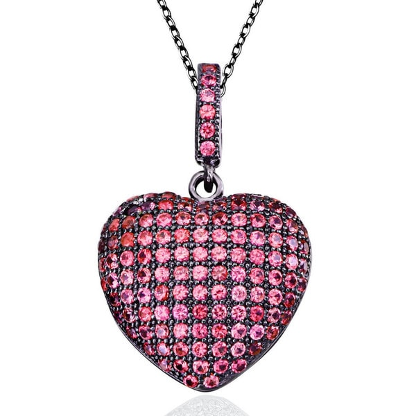 Suzy Levian Pink Cubic Zirconia Blackened Sterling Silver Pave Heart Pendant
