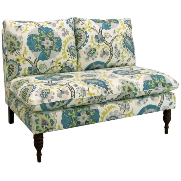 Skyline Furniture Ladbroke Peacock Fabric Modern Loveseat