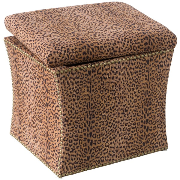 Skyline Furniture Cheetah Earth Fabric Storage Ottoman in Cheetah Earth