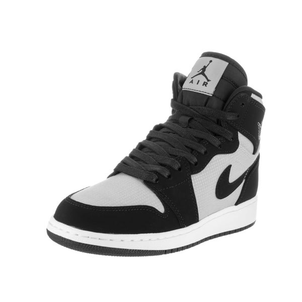 Nike Jordan Kids Air Jordan 1 Retro Black and White Nubuck High-top Basketball Shoes