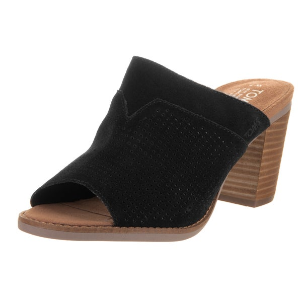 Toms Women's Majorca Black Suede Mule Sandals