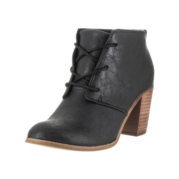 Toms Women's Black Faux Leather Lunata Lace-up Casual Shoe