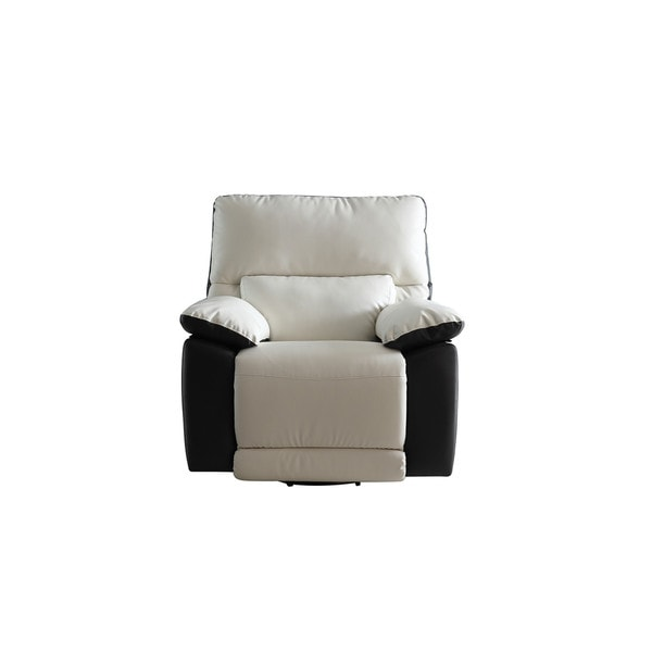 Modern Two Tone Bonded Leather Oversize Recliner Chair