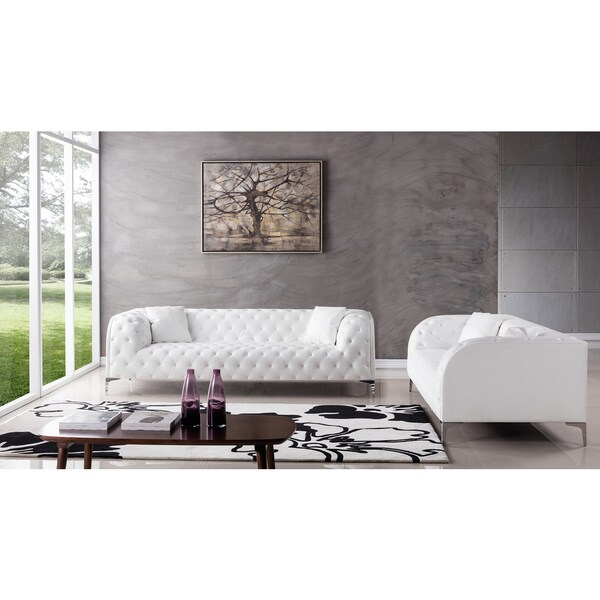 White Faux Leather Sofa Set