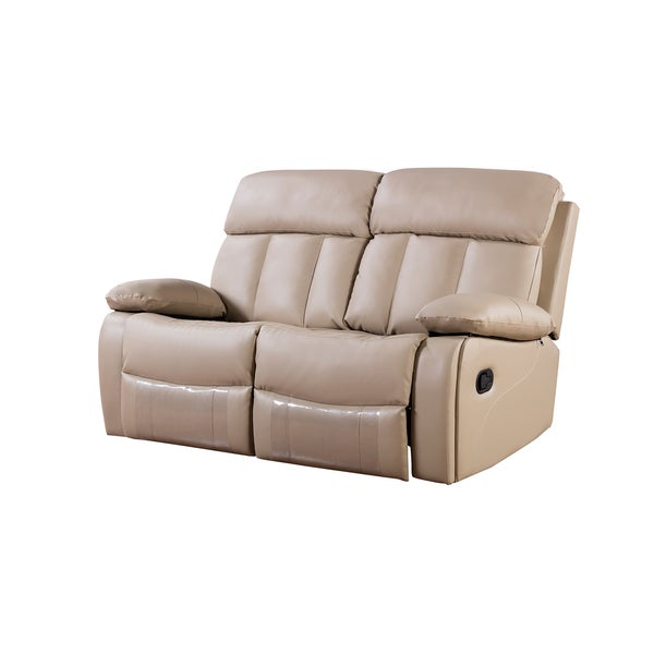 Tan Faux Leather Recliner Loveseat