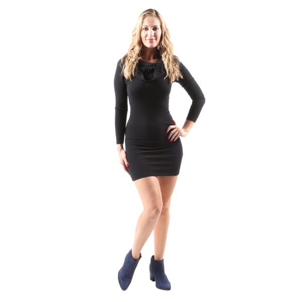 Hadari Women's Sexy Slimming Cowl Neck Black Bodycon Party Cocktail Dress