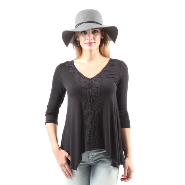 Hadari Women's Casual V-Neck Sexy Crochet Loose Black Blouse Top