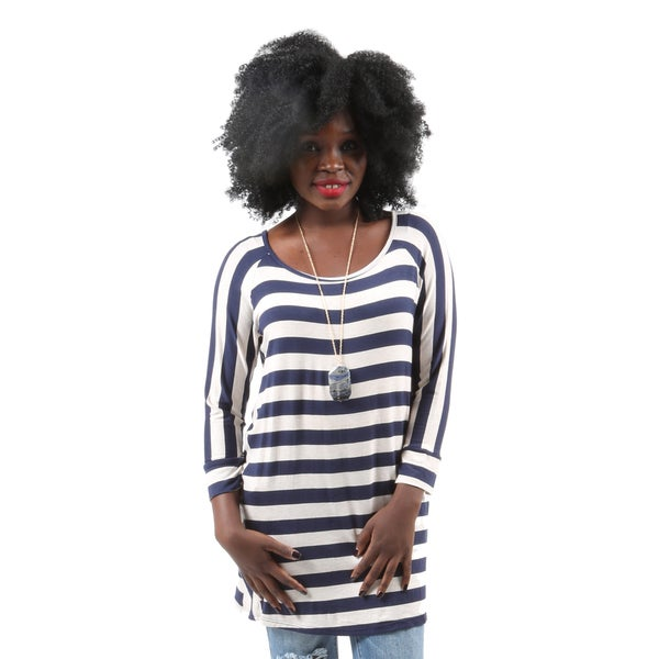 Hadari Women's Fashion Sexy Loose 3/4 Sleeve Blue & White Stripe Shirt Top