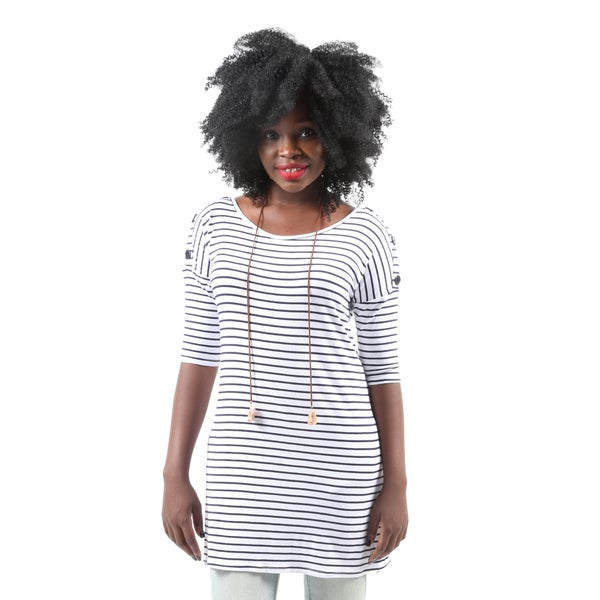 Hadari Women's Casual Button Short Sleeve Navy Stripe Tunic Top